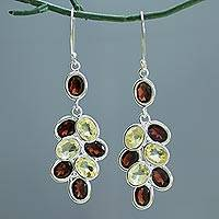 Garnet and citrine dangle earrings, 'Garnet Beauty' - Garnet and Citrine Dangle Earrings 30 Carat from India