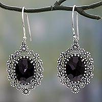 Onyx flower earrings, 'Flowering Beauty' - Sterling Silver Flower Earrings with Onyx Gems from India