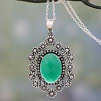 Sterling silver flower necklace 'Flowering Beauty' - Floral Indian Sterling Silver Necklace with Green Onyx