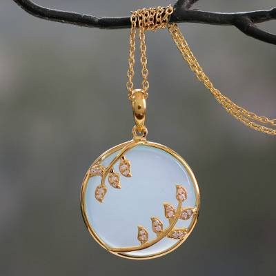 Gold vermeil chalcedony pendant necklace, 'Dewdrop Nature' - Gold Vermeil Aqua Chalcedony Necklace with Cubic Zirconia