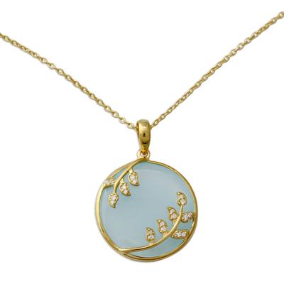 Gold Vermeil Aqua Chalcedony Necklace with Cubic Zirconia