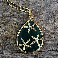 Gold vermeil onyx pendant necklace, 'Green Floral Kiss' - Green Onyx and Cubic Zirconia Gold Vermeil Necklace