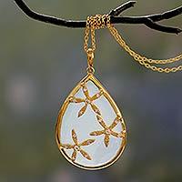 Gold vermeil chalcedony pendant necklace, 'Aqua Floral Kiss' - Aqua Chalcedony 18k Gold Vermeil Cubic Zirconia Necklace