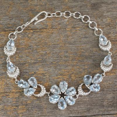 Blue topaz link bracelet, 'Mystic Petals' - Sterling Link Bracelet with 12 Carats of Blue Topaz Stones