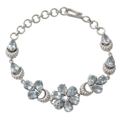 Sterling Link Bracelet with 12 Carats of Blue Topaz Stones