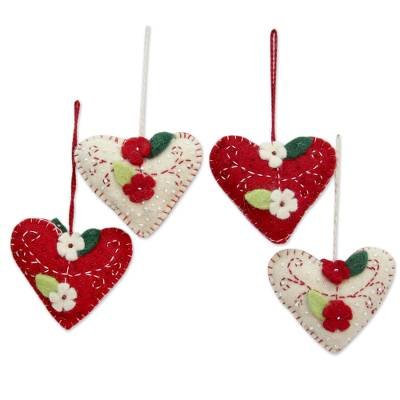 Wool felt ornaments, 'Joyful Hearts' (set of 4) - Handcrafted Felt Heart Ornaments in Red and Ivory (Set of 4)