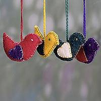 Wool felt ornaments, 'Messengers of Peace' (set of 4) - Colorful Wool Felt Holiday Dove Ornaments (Set of 4)