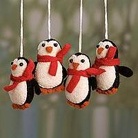 Wool felt ornaments, 'Dancing Penguins' (set of 4) - Artisan Crafted Wool Penguin Ornaments from India (Set of 4)