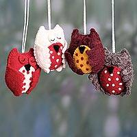 Wool felt ornaments, 'Sleepy Owls' (set of 4)