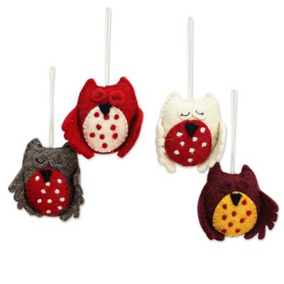 Wool felt ornaments, 'Sleepy Owls' (set of 4) - Wool Felt Owl Christmas Ornaments Handmade in India (set of