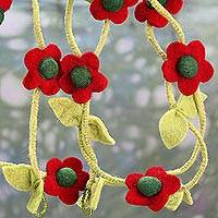 Wool felt garland, 'Holiday Begonias' - Hand Crafted Floral Christmas Tree Garland in Wool Felt