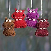 Wool felt ornaments, 'Curious Hippos' (set of 4)
