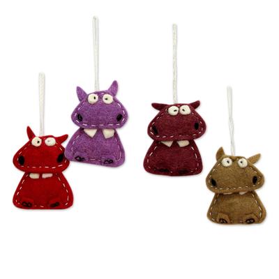 Wool felt ornaments, 'Curious Hippos' (set of 4) - Assorted Color Wool Felt Hippo Ornaments (Set of 4)