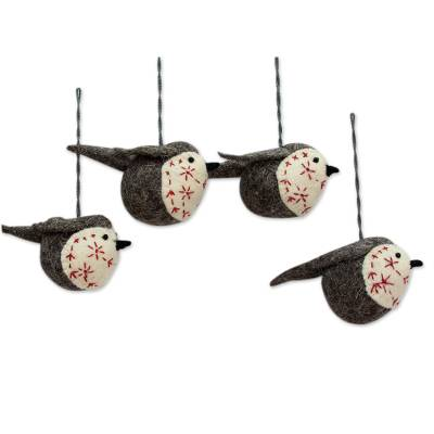 Wool felt ornaments, 'Chirpy Robins' (set of 4) - Wool Christmas Ornaments with Bird Theme (Set of 4)