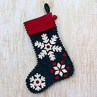 Wool felt holiday stocking, 'Snowflake Cheer' - Snowflake Motif Holiday Stocking in Green Wool Felt