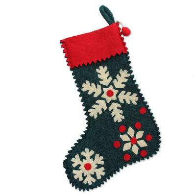 Wool felt holiday stocking, 'Snowflake Cheer' - Snowflake Motif Holiday Stocking in Green Wool Felt