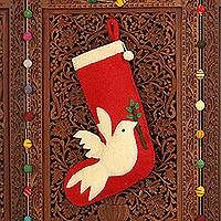 Wool felt holiday stocking, 'Peaceful Dove' - Peace Themed Red Holiday Stocking with Dove Motif
