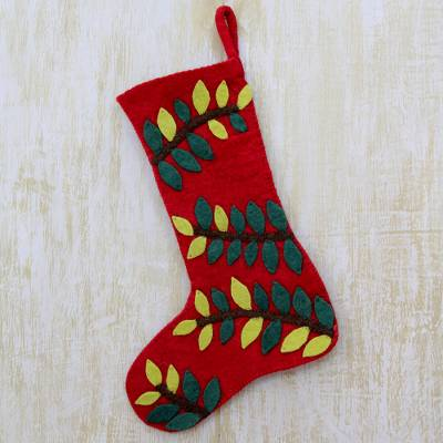 Wool felt stocking, 'Jungle Christmas' - Red Wool Felt Christmas Stocking with Leafy Vine Applique