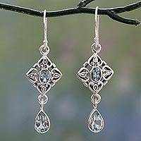 Blue topaz dangle earrings, 'Regal in Blue' - Blue Topaz Dangle Earrings with 5 Carats of Gemstones