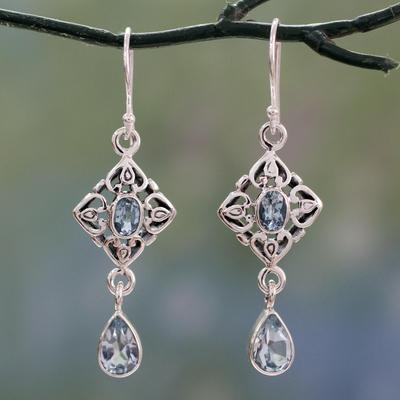 Blue topaz dangle earrings, 'Regal in Blue' - Blue Topaz Dangle Earrings with 5 Carats of Gemstones
