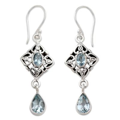 Blue Topaz Dangle Earrings with 5 Carats of Gemstones