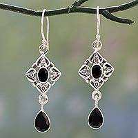 Onyx dangle earrings, 'Regal in Black' - Ornate Black Onyx and Sterling Silver Dangle Style Earrings