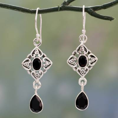 Onyx dangle earrings, 'Regal in Black' - Ornate Black Onyx and Sterling Silver Dangle Style Earrings