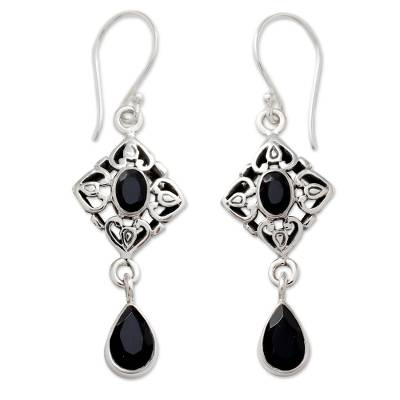 Ornate Black Onyx and Sterling Silver Dangle Style Earrings