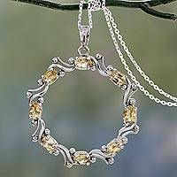Citrine pendant necklace, 'Wreath of Sunshine' - Wreath Shaped Pendant with Citrine on Silver Chain