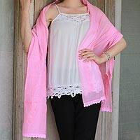 Cotton and silk blend shawl, 'Pink Paisley Dreams' - Hand Embroidered Pink Paisley Shawl from Indian Artisan