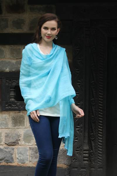 Cotton and silk blend shawl, 'Lucknow Bouquet in Blue' - Hand Embroidered Sky Blue Cotton Blend Shawl from India