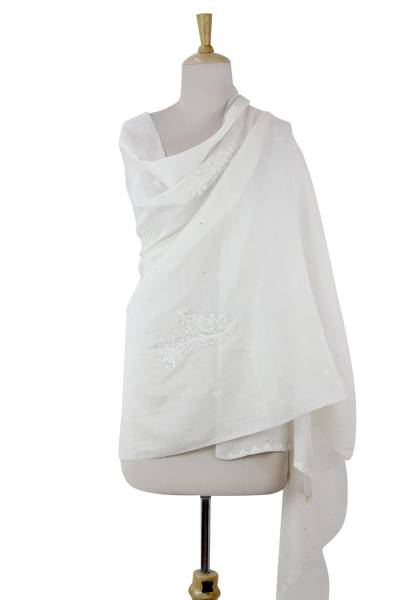 Cotton and silk blend shawl, 'Lucknow Meadow in White' - Cotton and Silk Blend Wrap in White with Floral Embroidery
