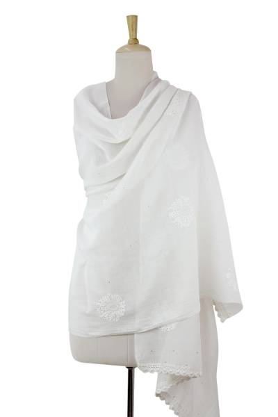 Cotton and silk blend shawl, 'Lucknow Bouquet in White' - Sheer White Cotton and Silk Shawl with Floral Embroidery