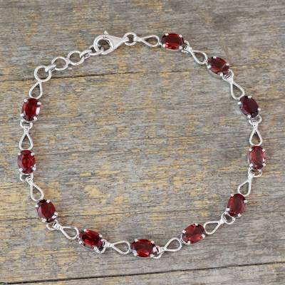 Garnet link bracelet, 'Crimson Relay' - Eleven Carat Garnet Link Bracelet in Rhodium Plated Silver
