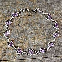 Amethyst link bracelet, 'Lilac Waves' - Amethyst and Rhodium Plated Sterling Silver Bracelet