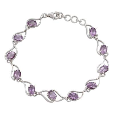 Amethyst link bracelet, 'Lilac Waves' - Amethyst and Rhodium Plated Sterling Silver Bracelet