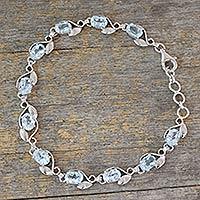 Blue topaz link bracelet, 'Meandering Vine' - Sterling Silver Bracelet with Eleven Carats of Blue Topaz
