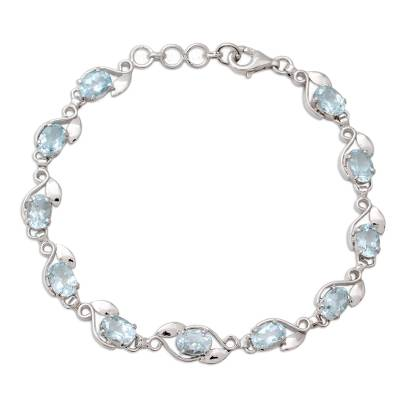 Sterling Silver Bracelet with Eleven Carats of Blue Topaz