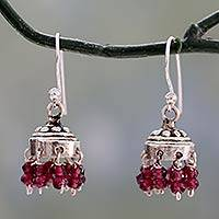 Garnet dangle earrings, 'Traditional Grace'