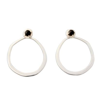 Contemporary Drop Earrings in Sterling Silver with Onyx