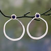 Lapis lazuli drop earrings, 'Singularity' - Modern Highly Polished  925 Sterling Silver Drop Earrings wi