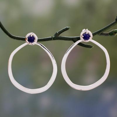 Lapis lazuli drop earrings, 'Singularity' - Modern Highly Polished  925 Sterling Silver Drop Earrings wi