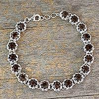 Smoky quartz tennis bracelet, 'Dusky Enchantment' - Rhodium Plated Silver Tennis Bracelet with Smoky Quartz