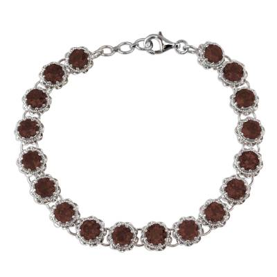 Rhodium Plated Silver Tennis Bracelet with Smoky Quartz