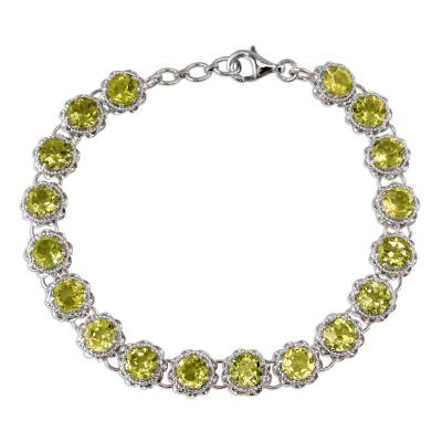 Peridot Tennis Style Bracelet Set in Rhodium Plated Silver