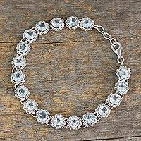 Blue topaz tennis bracelet, 'Celestial Enchantment' - Tennis Bracelet with Blue Topaz Set in Sterling Silver