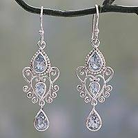 Blue topaz dangle earrings, 'Enchanted Princess' - Blue Topaz Gemstone Dangle Earrings in 925 Sterling Silver