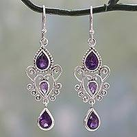 Amethyst dangle earrings, 'Enchanted Princess' - Hand Crafted Fair Trade Indian Artisan 925 Sterling Silver D
