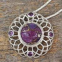 Amethyst pendant necklace, 'Purple Web'