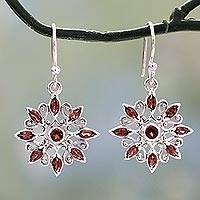 Garnet dangle earrings, 'Star Gala in Red' - Marquise Cut Garnet Dangle Earrings in Sterling Silver